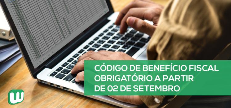 Código de benefício fiscal obrigatório a partir de 02 de setembro